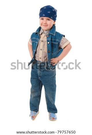 active artistic boy .isolated on white background