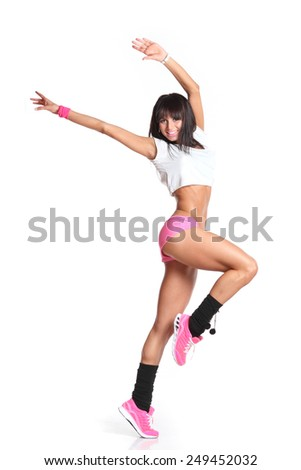 active,beautiful girl in studio shooting. beautiful girl engaged in fitness - stock photo