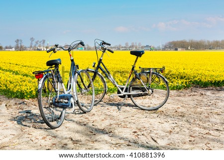 Active cycling holiday travel background with two bicycles near vibrant yellow daffodil blooming field in Holland - stock photo