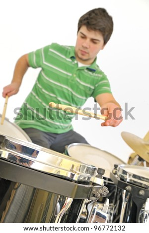 Active drummer - stock photo