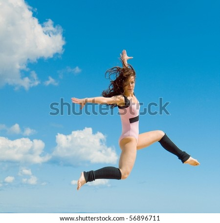 Active girl in the skies
