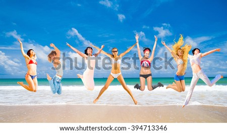 Active Girls On a Sunny Day  - stock photo