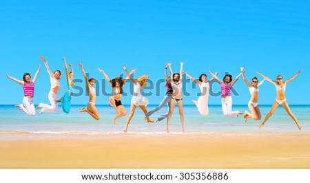 Active Girls Summer Exercise  - stock photo