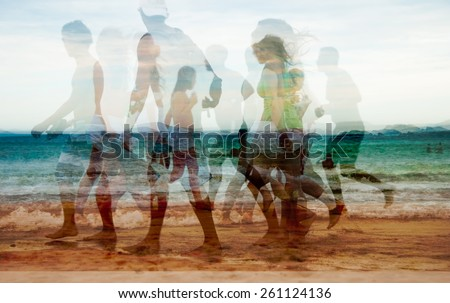Active group boys girls walking on tropical beach abstract background  Young people women and men on coastline running, image is filtered and double exposure, for websites book covers poster prints - stock photo