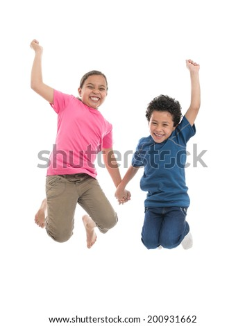 Active Joyful Kids Jumping with Joy Isolated on White Background - stock photo