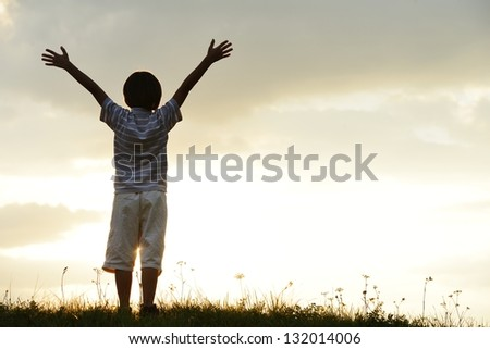 Active kid spending happy time on summer meadow by sunset - stock photo