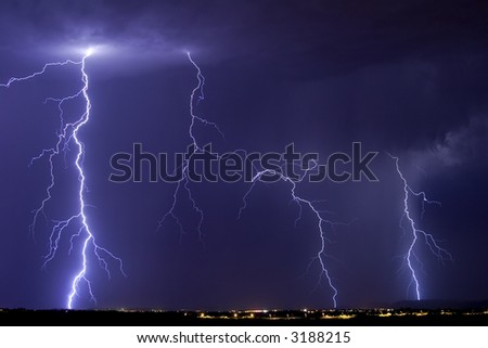 Active lightning storm over Catalina Arizona.