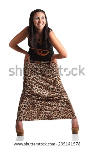 active model with a beautiful figure in full growth, fashionable clothes, photoshoot - stock photo