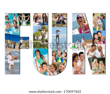 Active people men, women children and couples playing laughing and having fun in summer. Swimming, cycling, jumping, playing games, shopping and being active, the montage spells the word FUN - stock photo