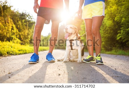 Active seniors getting ready for a run with their dog outside in green nature - stock photo