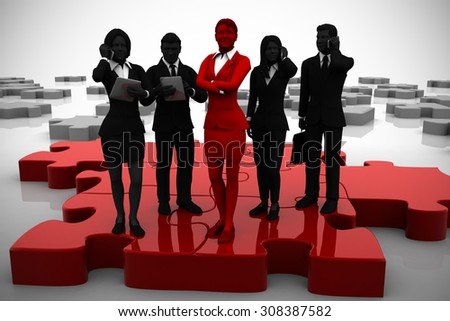 Active team of executives on Jigsaw puzzle. An active team of executives working like pieces of a jigsaw puzzle thanks to their leader. - stock photo