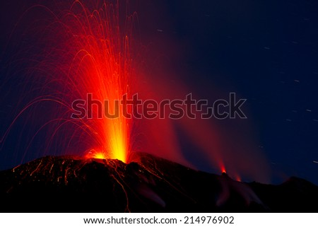 active volcano - stock photo