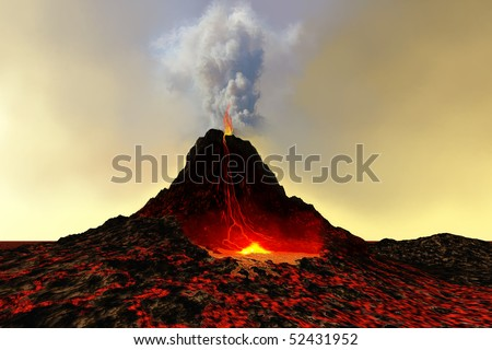 ACTIVE VOLCANO - An active volcano spews out hot red lava and smoke. - stock photo