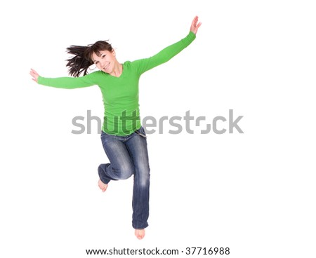 active woman jumping over white background - stock photo