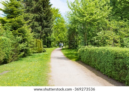 Active women walking in a park in spring  Nordic walking sports perfect healthy outdoor activity for senior and middle aged people, men and women - stock photo