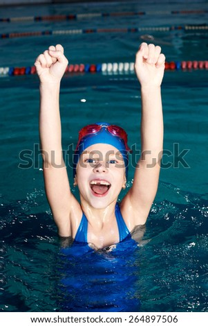Activities on the pool, children swimming and playing in water, happiness and sport time - stock photo