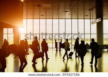 activity at airport - stock photo