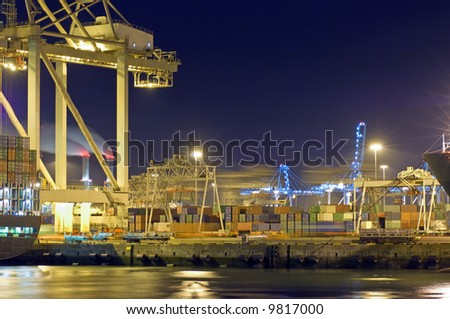 Activity at night in Rotterdam Harbor - stock photo