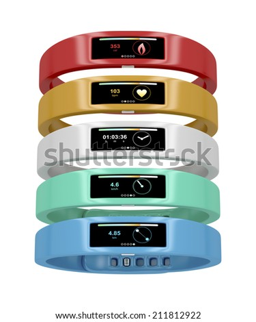 Activity trackers with different interfaces and colors - stock photo
