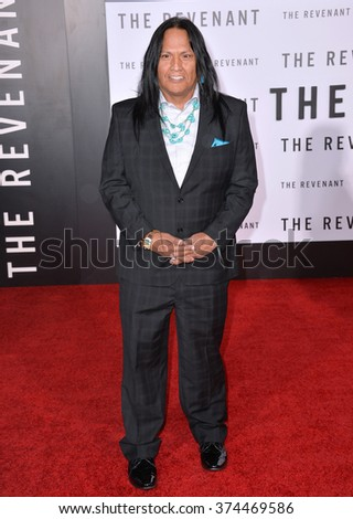 "Actor Arthur Redcloud at the Los Angeles premiere of his movie ""The Revenant"" at the TCL Chinese Theatre, Hollywood.  December 16, 2015  Los Angeles, CA Picture: Paul Smith / Featureflash - stock photo"