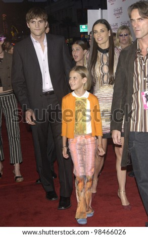 Actor ASHTON KUTCHER with girlfriend actress DEMI MOORE & her children at the Hollywood premiere of her new movie Charlie's Angels: Full Throttle. June 18, 2003  Paul Smith / Featureflash - stock photo