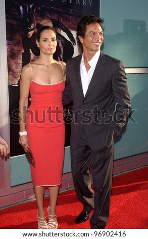 Actor BENJAMIN BRATT & wife actress TALISA SOTO at the world premiere, in Hollywood, of his new movie Catwoman. July 19, 2004