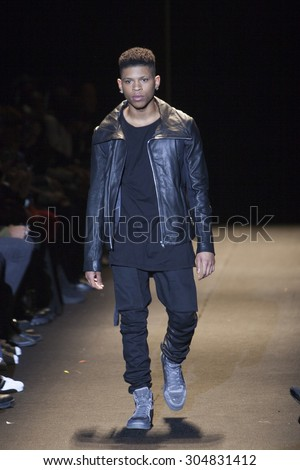 Actor Bryshere Y. Gray walks the runway during Naomi Campbell's Fashion For Relief Show at Mercedes Benz Fashion Week Fall Winter 2015 in New York on February 14, 2015 - stock photo