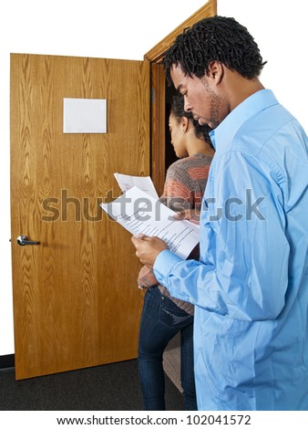 actor casting session waiting in line - stock photo