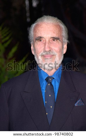 Actor CHRISTOPHER LEE at party in Cannes to promote his new movie The Lord of the Rings. The party was held in the medieval Chateau de Castellaras in Mougins. 13MAY2001.   Paul Smith/Featureflash - stock photo