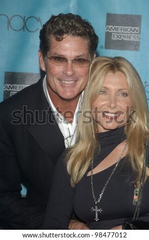 Actor DAVID HASSELHOFF & wife PAMELA at the Macy's & American Express Passport 2003 Gala at Santa Monica Airport, CA. Oct 2, 2003  Paul Smith / Featureflash - stock photo