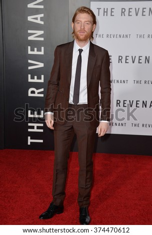 """Actor Domhnall Gleeson at the Los Angeles premiere of his movie """"The Revenant"""" at the TCL Chinese Theatre, Hollywood. December 16, 2015  Los Angeles, CAPicture: Paul Smith / Featureflash - stock photo"""