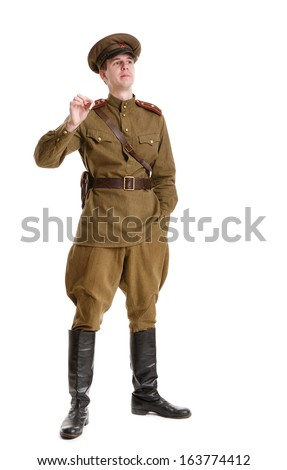 Actor dressed in military uniforms. Russian soldier the WWII times.