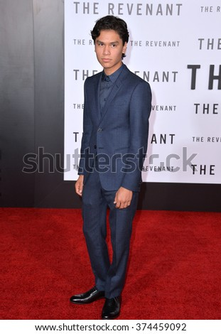 "Actor Forrest Goodluck at the Los Angeles premiere of his movie ""The Revenant"" at the TCL Chinese Theatre, Hollywood.  December 16, 2015  Los Angeles, CA Picture: Paul Smith / Featureflash - stock photo"