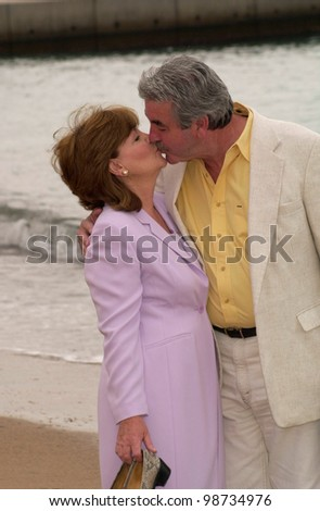 Actor JOHN ALDERTON & actress wife PAULINE COLLINS at the Cannes Film Festival to promote their new movie Mrs Caldicot's Cabbage War. 16MAY2001.  Paul Smith/Featureflash - stock photo