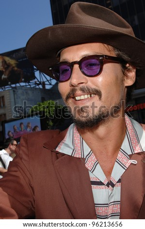 Actor JOHNNY DEPP at the world premiere, in Hollywood, of his new movie Charlie and the Chocolate Factory. July 10, 2005 Los Angeles, CA  2005 Paul Smith / Featureflash - stock photo