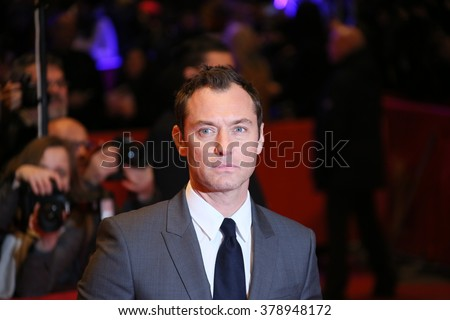 Actor Jude Law attends the 'Genius' premiere during the 66th Berlinale International Film Festival Berlin at Berlinale Palace on February 16, 2016 in Berlin, Germany. - stock photo
