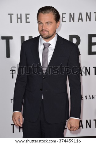 """Actor Leonardo DiCaprio at the Los Angeles premiere of his movie """"The Revenant"""" at the TCL Chinese Theatre, Hollywood.  December 16, 2015  Los Angeles, CA Picture: Paul Smith / Featureflash - stock photo"""