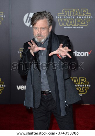 "Actor Mark Hamill at the world premiere of ""Star Wars: The Force Awakens"" on Hollywood Boulevard. December 14, 2015  Los Angeles, CA Picture: Paul Smith / Featureflash - stock photo"