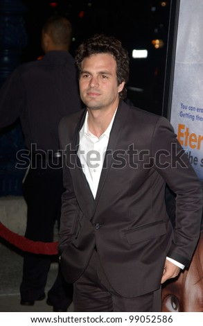 Actor MARK RUFFALO at the world premiere of his new movie Eternal Sunshine of the Spotless Mind, in Beverly Hills, CA. March 9, 2004