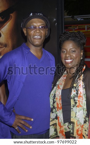 Actor SAMUEL L. JACKSON & wife at the world premiere, in Los Angeles, of his new movie S.W.A.T. July 30, 2003  Paul Smith / Featureflash - stock photo