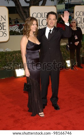 Actor TOM HANKS & actress wife RITA WILSON at the 59th Annual Golden Globe Awards in Beverly Hills. 20JAN2002  Paul Smith/Featureflash