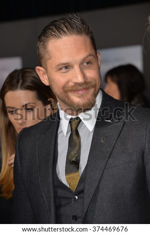 "Actor Tom Hardy at the Los Angeles premiere of his movie ""The Revenant"" at the TCL Chinese Theatre, Hollywood.  December 16, 2015  Los Angeles, CA Picture: Paul Smith / Featureflash - stock photo"