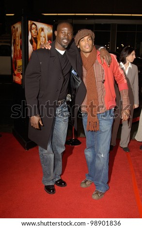 Actors DJIMON HOUNSOU (left) & MARLON WAYANS at the world premiere in Hollywood of Against the Ropes. February 11, 2004