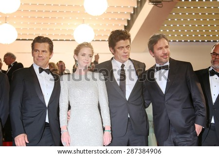 Actors Josh Brolin and Emily Blunt, director Denis Villeneuve and actor Benicio Del Toro attend the 'Sicario' premiere during the 68th annual Cannes Film Festival on May 19, 2015 in Cannes, France.  - stock photo