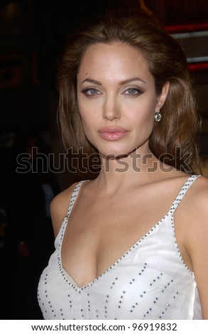 Actress ANGELINA JOLIE at the world premiere, at Grauman's Chinese Theatre Hollywood, of her new movie Sky Captain and the World of Tomorrow. September 14, 2004 - stock photo