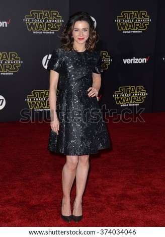 "Actress Caterina Scorsone at the world premiere of ""Star Wars: The Force Awakens"" on Hollywood Boulevard. December 14, 2015  Los Angeles, CA Picture: Paul Smith / Featureflash - stock photo"