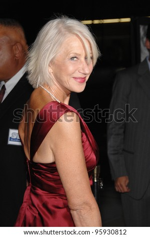 "Actress HELEN MIRREN at the Los Angeles premiere of her new movie ""The Queen"". October 3, 2006  Los Angeles, CA Picture: Paul Smith / Featureflash - stock photo"