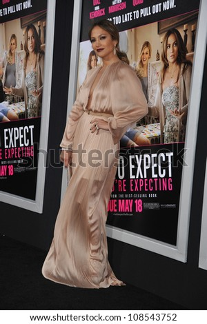 Actress Jennifer Lopez arrives at the premiere of 'What To Expect When You're Expecting' held at Grauman's Chinese Theatre in Hollywood. - stock photo