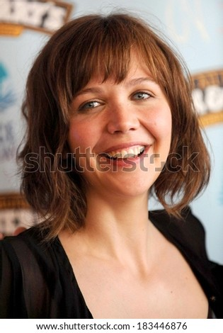 Actress Maggie Gyllenhaal at the press conference for Ben & Jerry's Ice Cream and Maggie Gyllenhaal Host Peace Bed-In, Ben & Jerry's Times Square Scoop Shop, New York, May 27, 2008 - stock photo