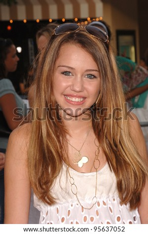 "Actress MILEY CYRUS (daughter of singer Billy Ray Cyrus) at the Los Angeles premiere of ""Monster House"". July 17, 2006  Los Angeles, CA  2006 Paul Smith / Featureflash - stock photo"